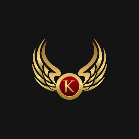 Luxury Letter K Emblem Wings logo design concept template Illustration