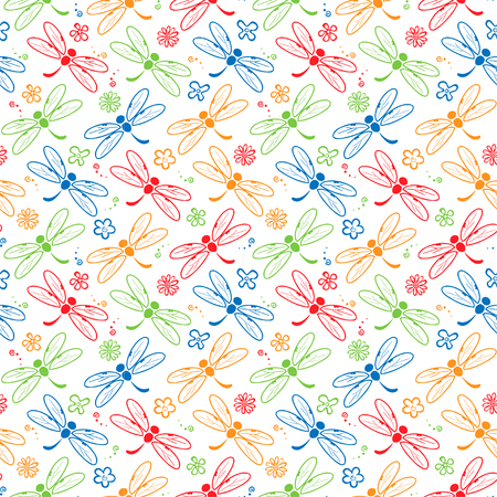dragonfly colorful pattern background Illustration