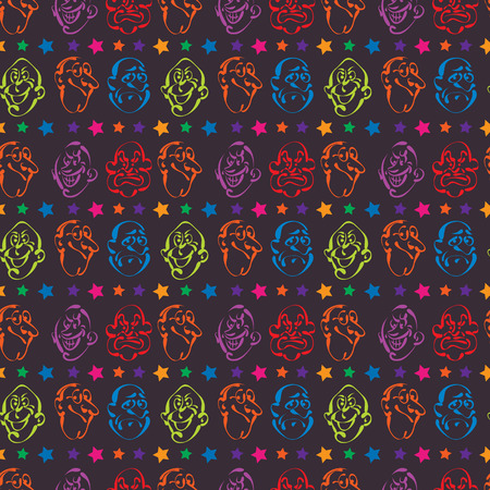 face emotion hand drawn pattern background