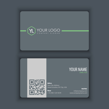 Modern Creative and Clean Business Card Template with grey color