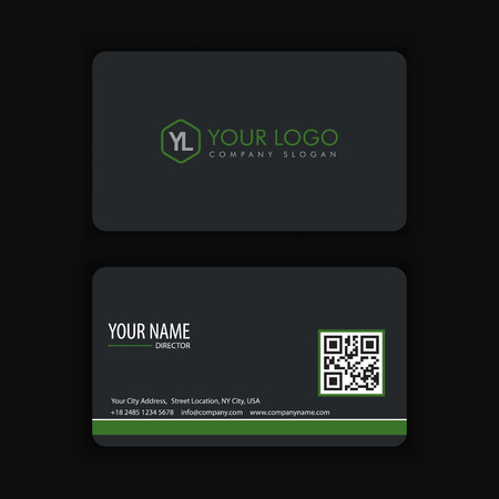 businesscard: Modern Creative and Clean Business Card Template with green dark color Illustration