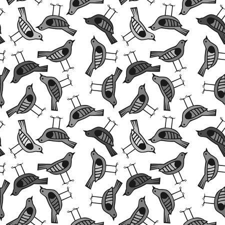 bird hand drawn pattern background with dark color