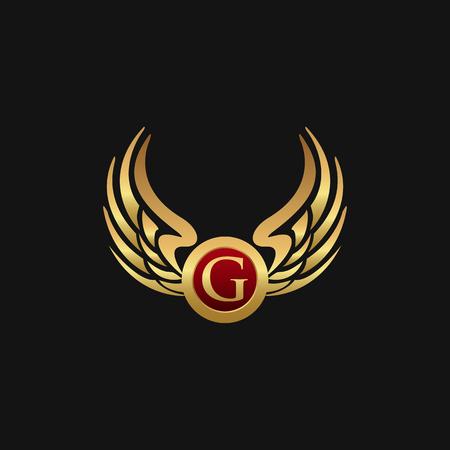 Modèle de concept de luxe G Lettre Emblem Wings logo design