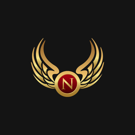 Luxury Letter N Emblem Wings logo design concept template