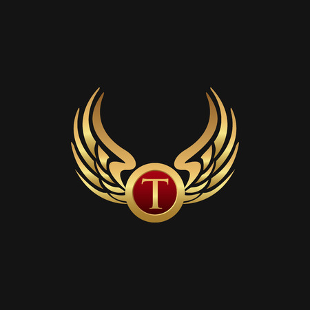Luxury Letter T Emblem Wings logo design concept template Иллюстрация