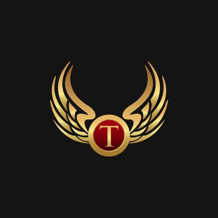 Luxury Letter T Emblem Wings logo design concept template Vettoriali