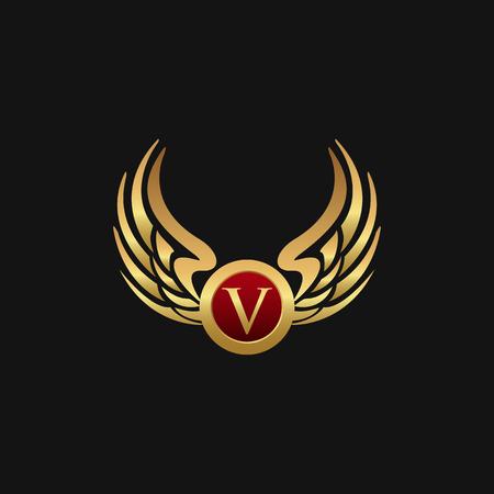 Luxury Letter V Emblem Wings logo design concept template