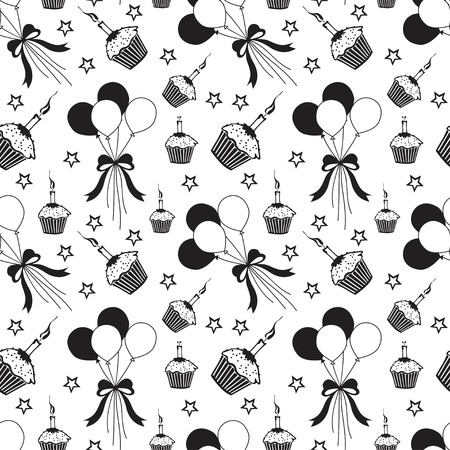 Happy birthday pattern Background with dark color