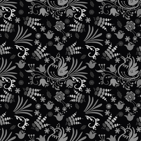 beautiful bird floral pattern background hand drawn with dark color Illustration