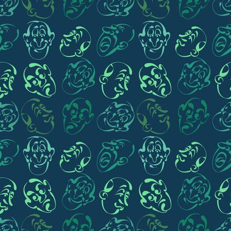 Visage émotion main dessinée de fond avec la couleur bleue Banque d'images - 87125283