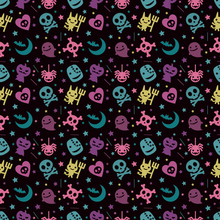 cute hallowen pattern background with pastel color
