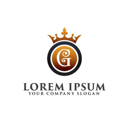 럭셔리 문자 G 크라운 로고 디자인 컨셉 템플릿