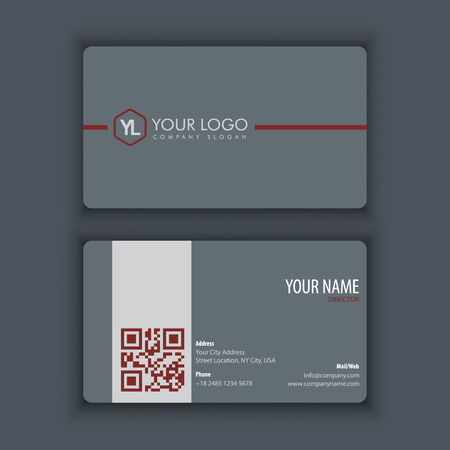 Modern Creative and Clean Business Card Template with Red grey color