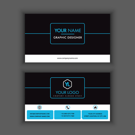 Modern Creative and Clean Business Card Template with Blue dark color