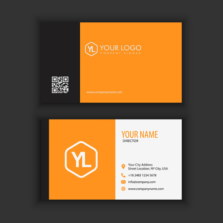 Modern Creative and Clean Business Card Template with orange black color Ilustrace