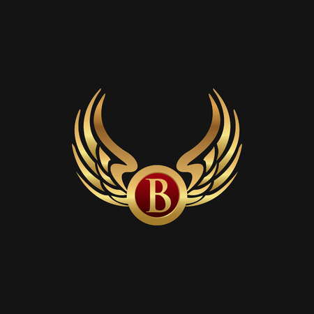 Luxury Letter B Emblem Wings logo design concept template