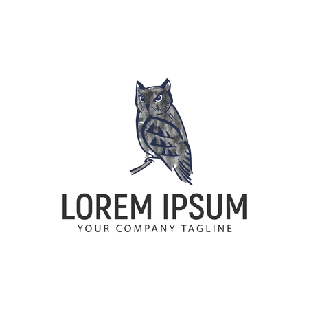 Owl logo with watercolor Çizim