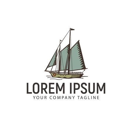 Ship marine vintage retro logo design concept template