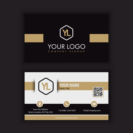 Modern Creative and Clean Business Card Template with gold dark color Ilustracja