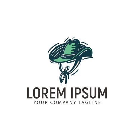 coboy hat retro hand drawn logo design concept template