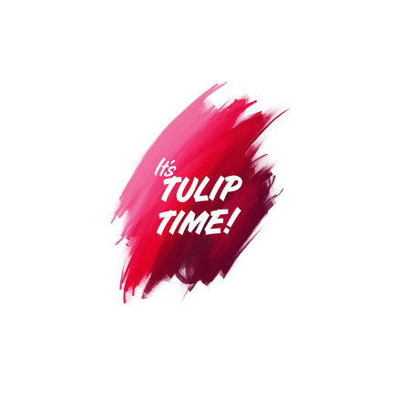 Hand-written lettering brush phrase Tulip Time with watercolor background Ilustração