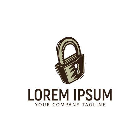 자물쇠 빈티지 복고풍 손으로 그린 로고 디자인 컨셉 템플릿