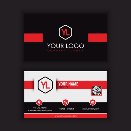 Modern Creative and Clean Business Card Template with red blac kcolor Vetores