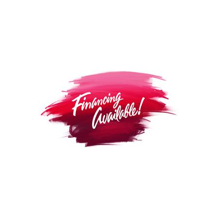 Handgeschriebene Beschriftungspinsel-Phrasen-Finanzierung verfügbar mit Aquarellhintergrund Standard-Bild - 87660384