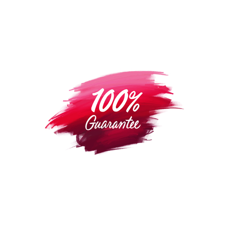 Hand-written lettering brush phrase 100% guarantee with watercolor background Banco de Imagens - 87660385