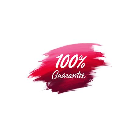 Met de hand geschreven belettering penseel zin 100% garantie met aquarel achtergrond