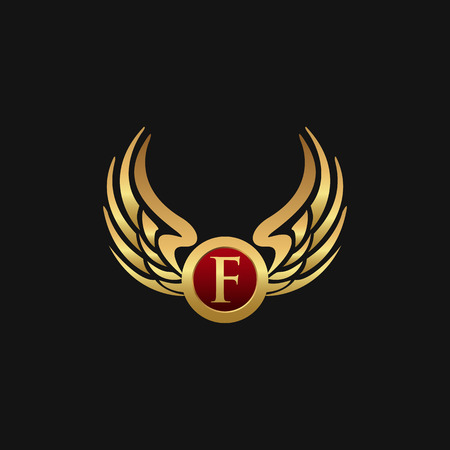 Luxury Letter F Emblem Wings logo design concept template