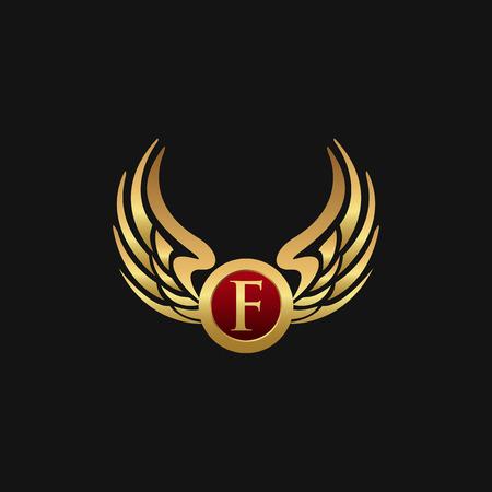 Modelo de conceito de design de logotipo de letra F emblema asas de luxo Foto de archivo - 87660391