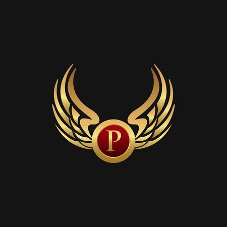 高級手紙 P エンブレム翼ロゴ デザイン コンセプト テンプレート