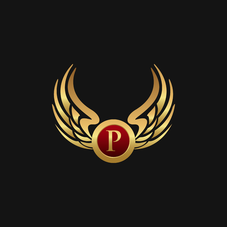 Luxury Letter P Emblem Wings logo design concept template