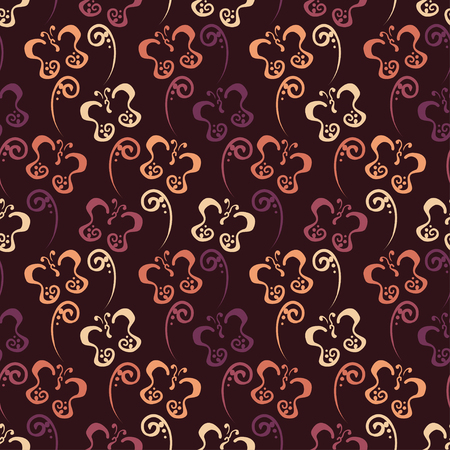 Butterfly hand drawn Pattern with brown color Illustration