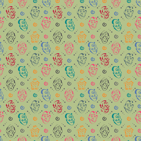 A face emotion hand drawn pattern background Stock fotó - 87660478