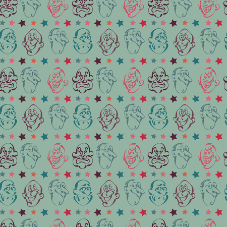 A face emotion hand drawn pattern background