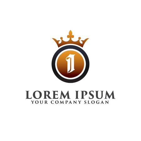 Luxury Letter I with crown Logo design concept template