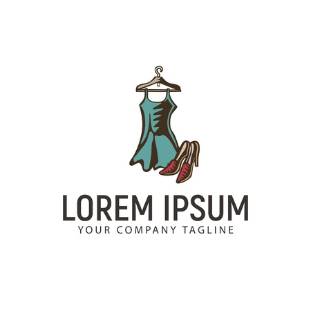 clothes and shoes hand drawn logo design concept template Illustration