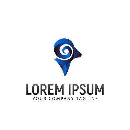 sheep head modern logo design concept template