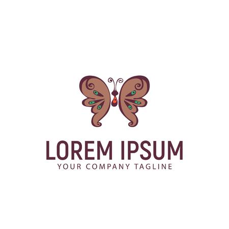 Modello di concetto di progettazione logo disegnato a mano farfalla Archivio Fotografico - 87777198