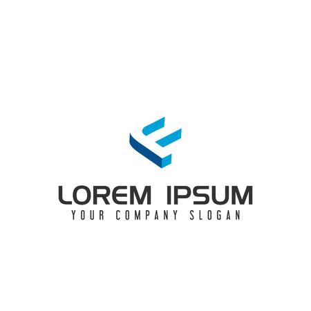 手紙 F 否定的なスペースのロゴ デザイン コンセプト テンプレート