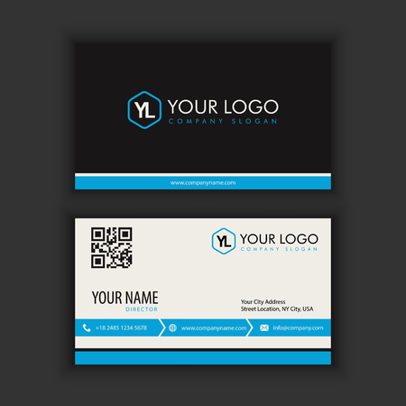 Modern Creative and Clean Business Card Template with blue black color