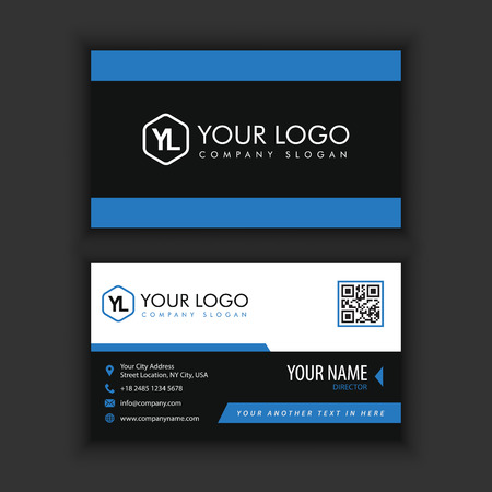 Modern Creative and Clean Business Card Template with blue black color Zdjęcie Seryjne - 87925611