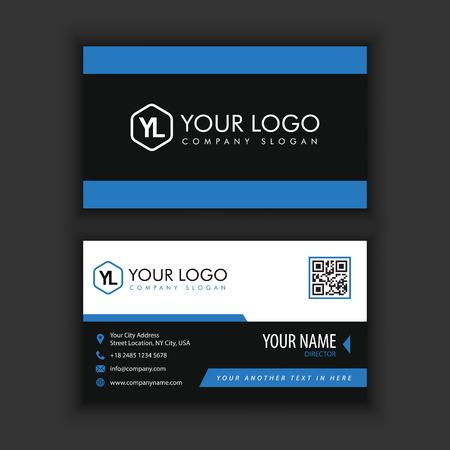Sjabloon voor modern, creatieve en schone visitekaartjes met blauwe zwarte kleur