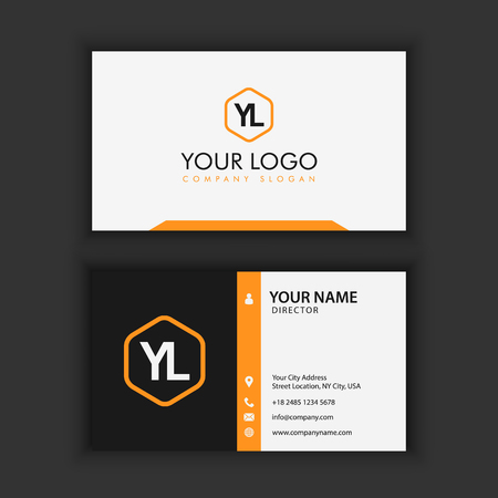 Modern Creative and Clean Business Card Template with orange black color Vectores