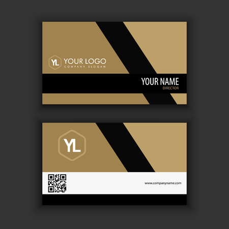 Modern Creative and Clean Business Card Template with gold black color