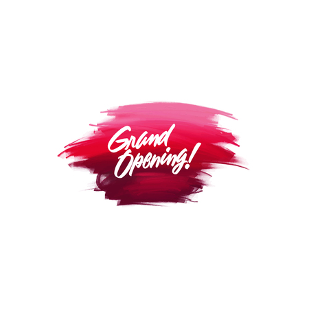 Hand-written lettering brush phrase Grand Opening with watercolor background 向量圖像