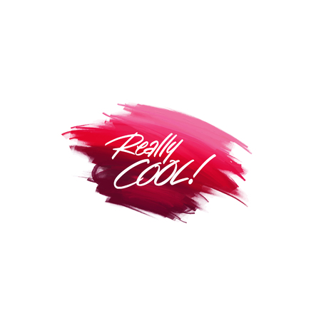 Hand-written lettering brush phrase Really cool with watercolor background Imagens - 87925629