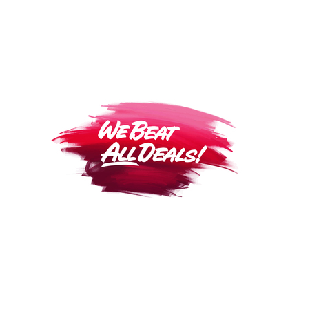 Hand-written lettering brush phrase We Beat All Deal with watercolor background